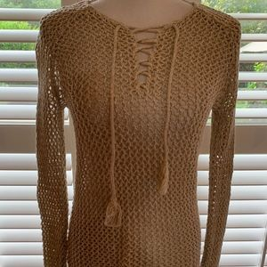 Loft Crochet KnitCover-Up or Sweater with Neck Tie
